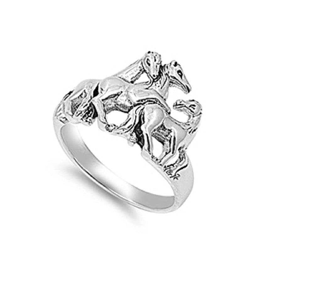 Princess Kylie 925 Sterling Silver Three Horses Ring