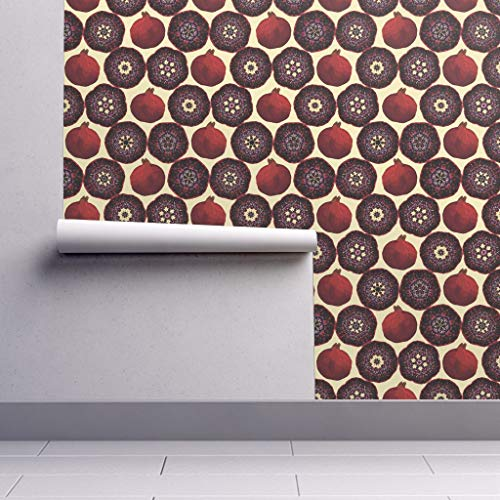 Pomegranate 108 - Peel-and-Stick Removable Wallpaper - Pomegranate Food Fruit Modern Kitchen Decor Upholstery Pomegranate by Allisonyoung - 24in x 108in Woven Textured Peel-and-Stick Removable Wallpaper Roll