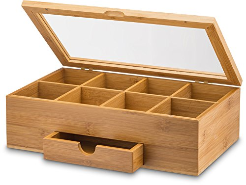Tea Organizer Bamboo Tea Box with Small Drawer 100% Natural Bamboo Tea Chest - Great Gift Idea - By Bambusi by Bambüsi (Image #1)