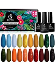 Beetles 20 Pcs Gel Nail Polish Kit Fall Winter Gel Nail Polish Red Orange Yellow Soak Off Nail Gel Set