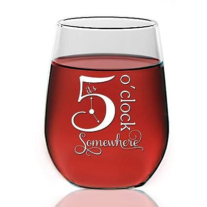 29bfb9be482 Amazon.com   It's 5 O'clock Somewhere 21oz Stemless Wine Glass ...