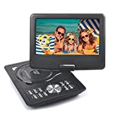 Reelva Portable DVD CD MP3 MP4 Player, Travel Car DVD Player Speakers with Swivel Screen,Built-in Rechargeable Battery SD Card and USB Supported Direct Play(9 Inch,Black)