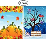 ShineSnow 2 Pack Thanksgiving Harvest Autumn Pumpkin Maple Leaves Fall Birds On Winter Snow Tree Garden Yard Flag 12''x 18'' Double Sided Polyester House Banners for Patio Lawn Outdoor Home Decor
