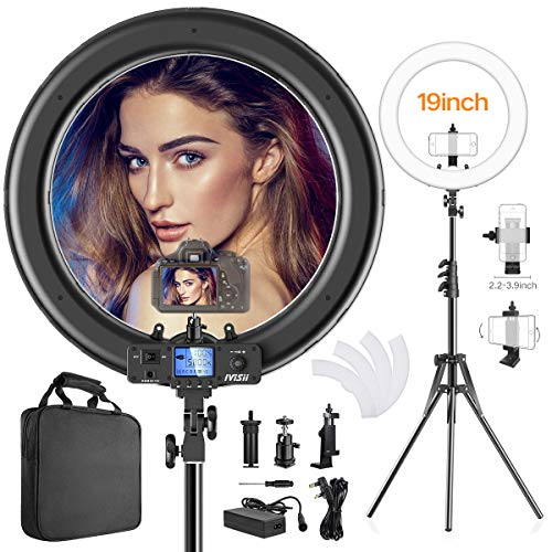 - Ring Light,Upgraded Version 19inch with LCD Display Adjustable Color Temperature 3000K-5800K with Stand, YouTube Makeup Dimmable Video LED Light Kit, for Video Shooting, Portrait, Vlog, Selfie