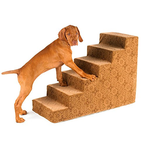 Bowsers 6-Step Designer Dog Stairs in Flamingo Bones by Bowsers