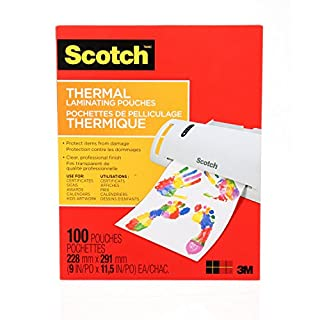 "Scotch Thermal Laminating Sheets, 9"" x 11.5"", 3-Mil Thick, 100 Laminating Pouches (B013QMM8SA) 