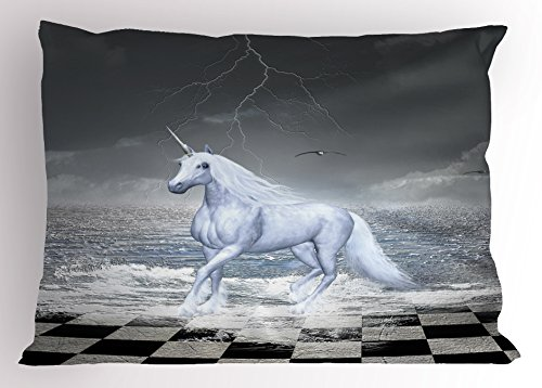 Unicorn Pillow Sham by Lunarable, Digital Surreal Sea on Chessboard with a Unicorn Horse Galloping Myth Art Print, Decorative Standard Size Printed Pillowcase, Grey White