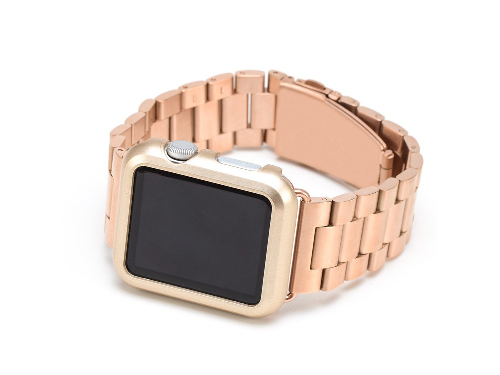 iPM Premium Shiny Hard Plastic Protective Border Case for 42mm Apple Watch - Gold