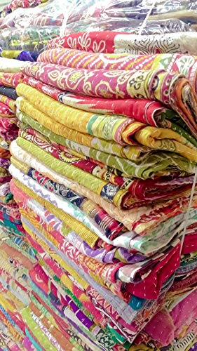 (5 Pieces Mix Lot of Indian Tribal Kantha Quilts Vintage Cotton Bed Cover Throw Old Sari Assorted Patches Kantha Quilts Bed Covers Whole Sale Blanket My Crafts)