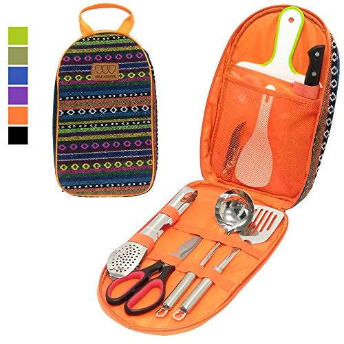 Paddle Carrier Kit - 8Pcs Camping Cookware Kitchen Utensil Organizer Travel Set - Portable BBQ Camp Cookware Utensils Travel Kit with Water Resistant Case, Cutting Board, Rice Paddle, Tongs, Scissors, Knife (Orange)