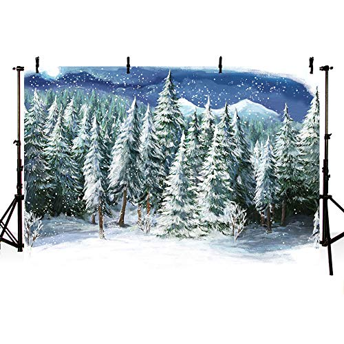 MEHOFOTO Snow Scene Winter Photo Studio Background Banners Winter Snow Landscape Pine Trees Photography Backdrops Props 7x5ft