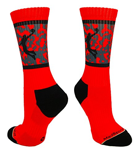 tball Socks with Player on Camo Athletic Crew Socks (Red/Black, Large) (Jordan Silhouette)