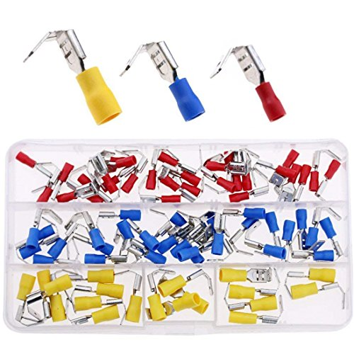 Terminal Spade 2 (Hilitchi 120pcs 22-16/16-14/12-10AWG Piggy Back Insulated Terminals Electrical Wiring Wire Crimp Connectors Set)
