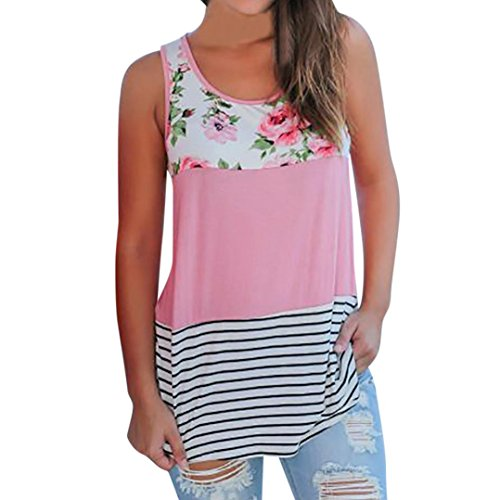 Women Blouse Casual Floral Stripe Print Patchwork Sleeveless T Shirt Pink