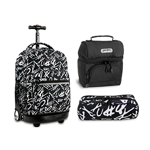 J World New York Sunrise Rolling Backpack Back To School Set w/ Pencil Case & Lunch Bag (Script)