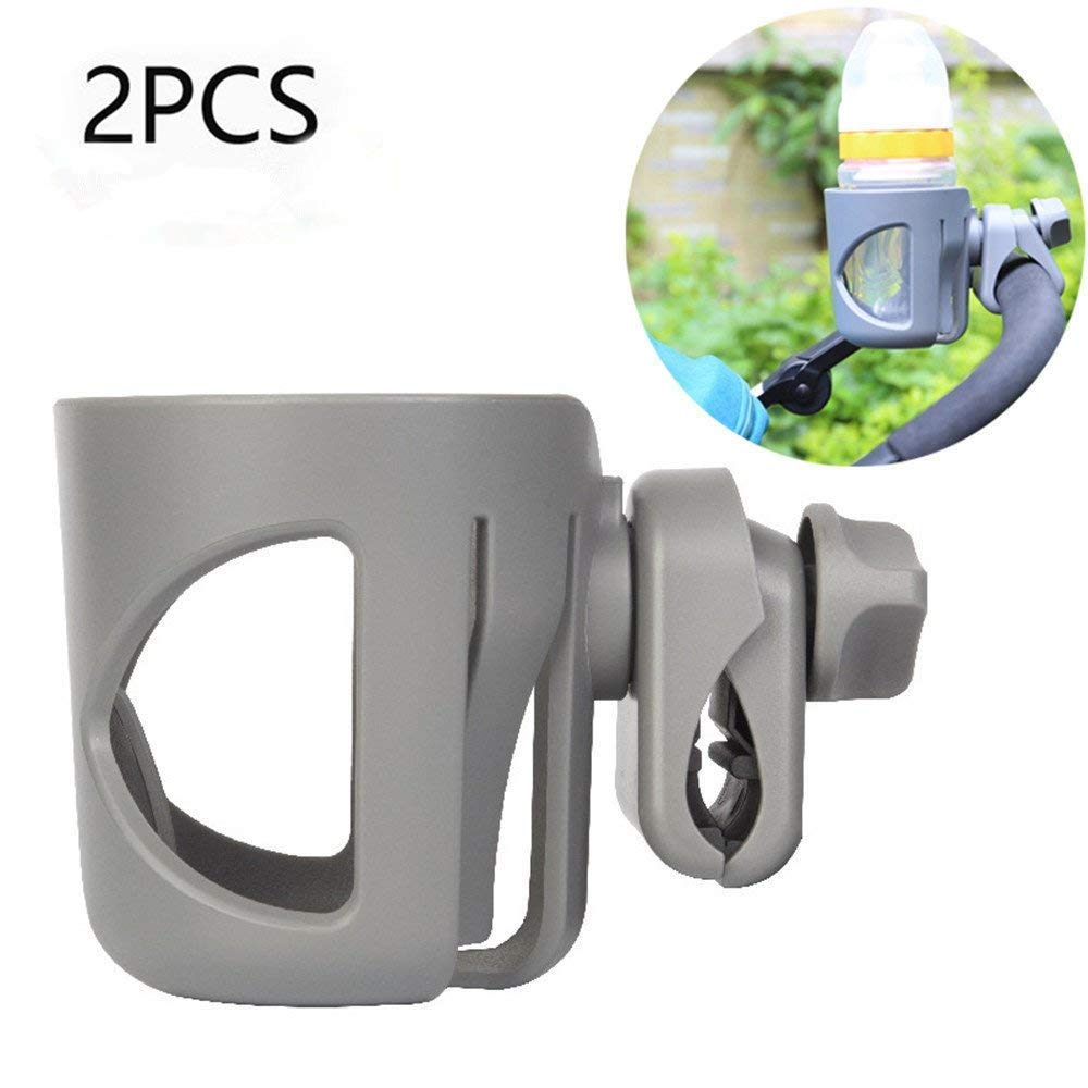 Dreamsoule 2 Pack Stroller Cup Holder,Attachable Stroller Clip Bottle Holder Feeding Bottle Cup Rack Fits Most Strollers/Wheelchairs / Rollators/Walkers / Bicycles/Carriage Accessory (Grey)