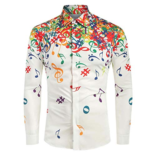 iLXHD Men Casual Novelty Musical Note Pattern Casual Long Sleeves Shirt Top Blouse White from iLXHD