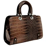 MG Collection Vintage Style Crocodile Tote Framed Bag, Brown, One Size
