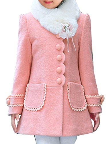 Fur Peacoat (JiaYou Girl Child Kid Buttons Faux Fur Collar Outwear Pea Coat(Pink,height 47-51Inches))