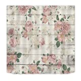 LB Pink Flower on Rustic Wood Panel Shower Curtain for Bathroom by, Vintage Retro Country Floral Theme Curtain, Mildew Resistant Waterproof Fabric Decorative Curtain, 72 x 72 Inch