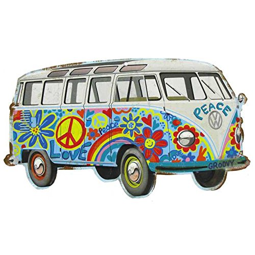 Hippy Bus Die Cut Tin Sign]()
