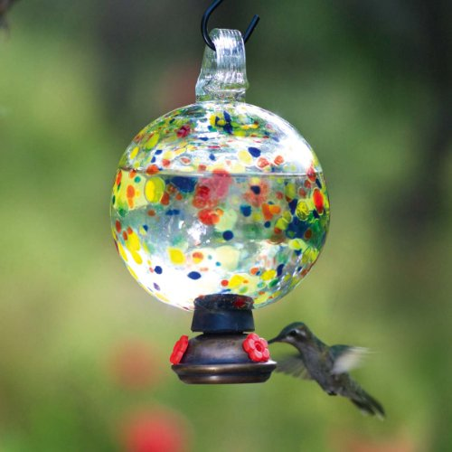 Parasol Dew Drop Carnival ~ Blown Glass Hummingbird Feeder ~ Nectar Feeder ~ DDCARN