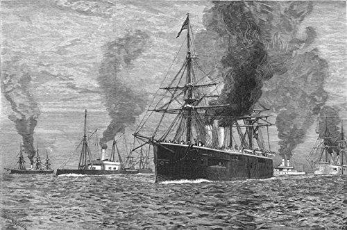 VILLEFRANCHE. The British fleet at Villa Franca - 1880 - old antique vintage print - engraving art picture prints of France Ships - The - 1880 Engraving Antique
