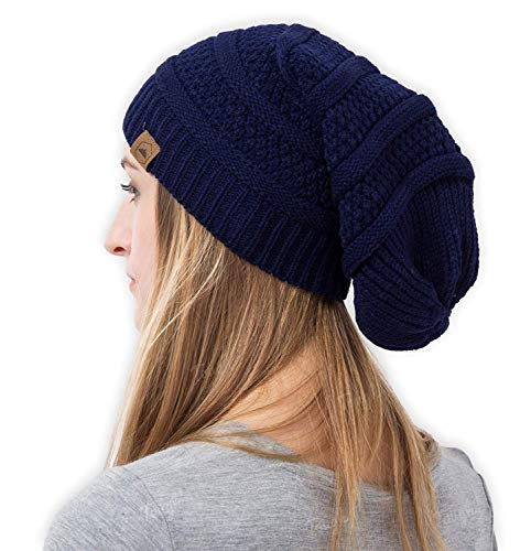 Navy Blue Slouch Hat - Slouchy Cable Knit Beanie - Chunky, Oversized Slouch Beanie Hats for Men & Women - Stay Warm & Stylish - Serious Beanies for Serious Style (Navy Blue)