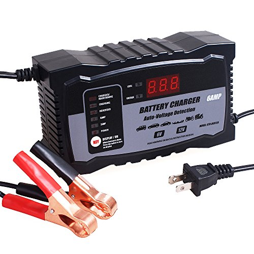 KATBO 2Amp 6 Amp Battery Charger 6V 12V Auto-Voltage Detection,Lead Acid Battery Float Charger Maintainer With LCD Display For Motorcycle Car Boat Marine Lawn mower Atv Toy ()
