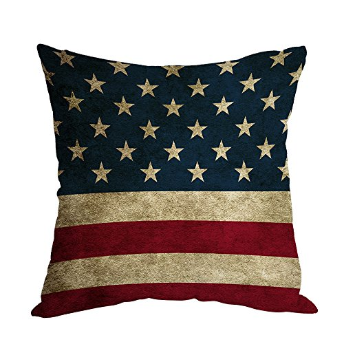 g Pillow,Home Decorative Throw Pillow Cover Vintage USA Flag Burlap Cotton Linen Cushion for Couch/Sofa/Bedroom/Livingroom/Kitchen/Car 18 x 18 inch Square Pillow case ()