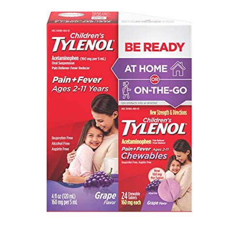 Childrens Tylenol - Children's Tylenol Pack, Liquid (4 fl. oz) and Chewables (24 ct), Pain + Fever Relief, Grape Flavor