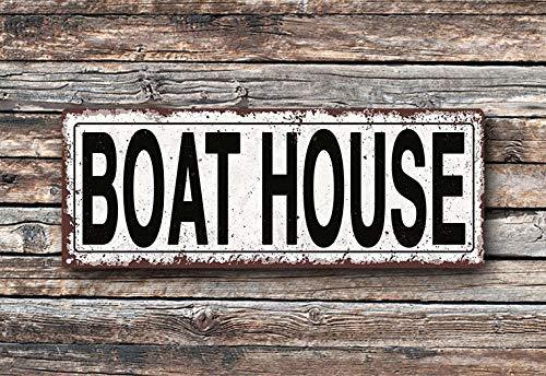 (Pealrich Boat House Metal Street Sign, Rustic, Vintage)