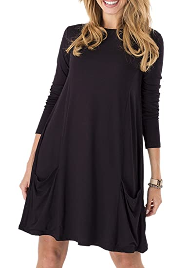 Womens Stretchy Flowy Long Sleeve Tunic Dress With Pocket At Amazon