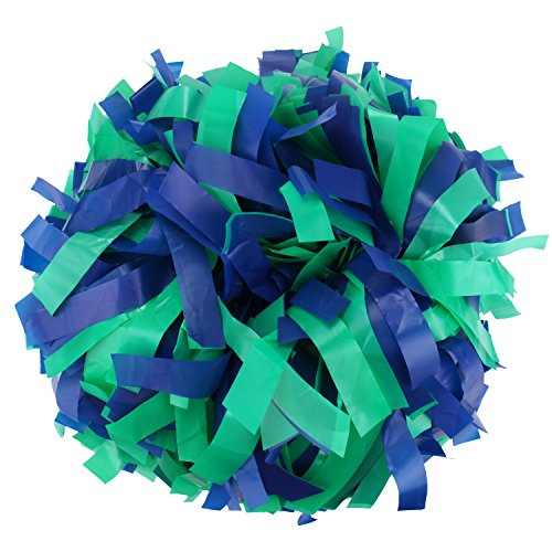ICObuty Plastic Cheerleader Cheerleading Pom Pom 6 inch 1 Pair (Royal blue-Kelly green)