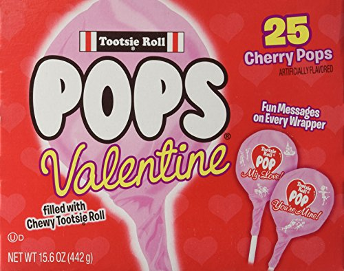 Lollipops Valentines Day (Special Edition Tootsie Roll 25 Valentine Cherry Pops ~ Fun Messages on Every Wrapper)