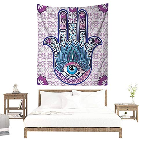 alisoso Christmas Tapestry,Ornaments Purple Hamsa Decor Kabbalah Judaica Evil Eye Lucky Charm Chai Protection Stone Mystic Home Blessing Hand W47 x L47 inch Towel Throw Tapestry Decor