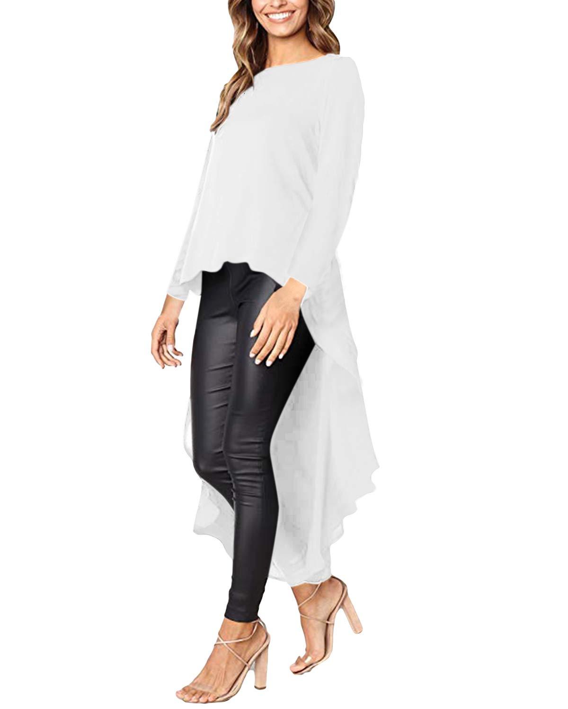 kenoce långärmad casual toppar lös O hals volang lång blus oregelbunden hög låg fåll maxiklänning pullover tröjor 02-off White