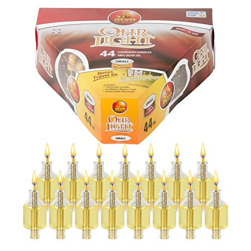 Ner Mitzvah Pre-Filled Menorah Oil Cup Candles - Hanukkah Ohr Lights - 100% Olive Oil with Cotton Wick in Glass Cup - Small Size, 44 per Pack, Burns Approx. 1 1/2 Hrs]()