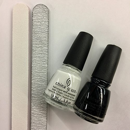 China Glaze Liquid Nail Polish (China Glaze: White On White, Liquid Leather + 2 FREE Nail Files)