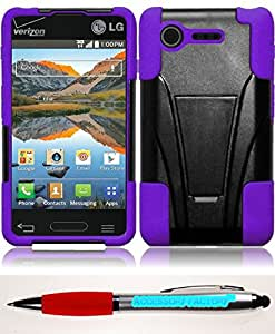Accessory Factory(TM) Bundle (the item, 2in1 Stylus Point Pen) For LG Optimus Zone 2 L34C Fuel T-Stand Cover Case - Black+Purple