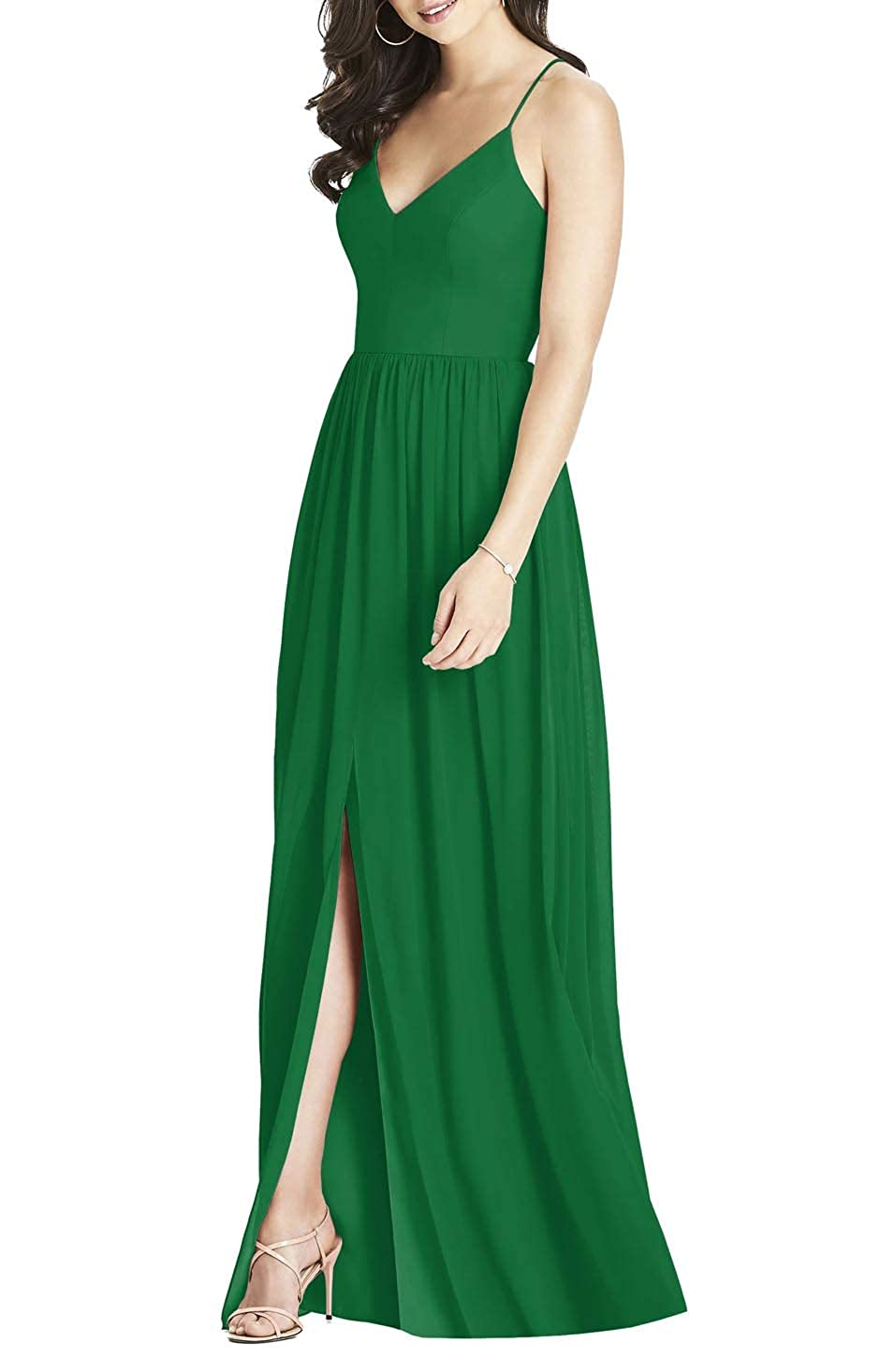 Green YUSHENGSM Women's Spaghetti Strap Prom Dresses Long Formal Evening Bridesmaid Party Gown