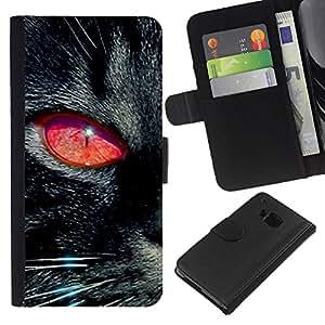 eJoy---La carpeta del tirón la caja de cuero de alta calidad de la PU Caso protector - HTC One M7 - --Black Cat Red Eye Chartreux Witch