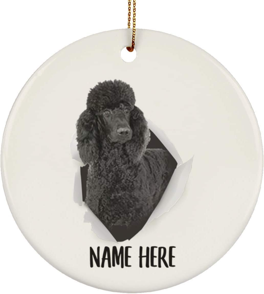 Lovesout Cute Standard Poodle Black Personalized Name Christmas Tree White Ceramic Circle Ornament