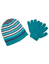 Grand Sierra Girl's 7-16 Striped Hat and Solid Gloves Winter Set, Teal