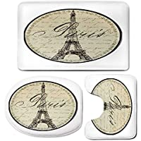 3 Piece Bath Mat Rug Set,Paris-Decor,Bathroom Non-Slip Floor Mat,Vintage-Wall-Decorative-Sign-with-Paris-Theme-Interior-Famous-Landmark-Tourism,Pedestal Rug + Lid Toilet Cover + Bath Mat,