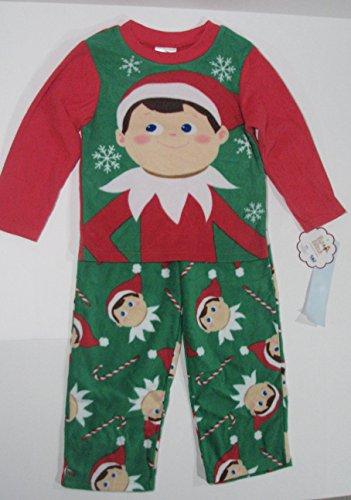 [Elf on the Shelf Green and Red Fleece Pajamas Boys XS] (Elf On Shelf Costumes)
