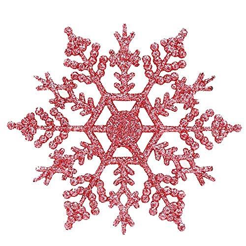 Vinctik 6&Fox 12Pcs Plastic Snowflake Decoration for Christmas Party Christmas Tree Decor Christmas Ornaments Decor(Pink) -