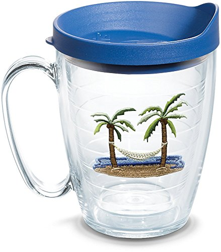 - Tervis 1092339 Palm Tree & Hammock Scene Insulated Tumbler with Emblem and Blue Lid, 16oz Mug, Clear