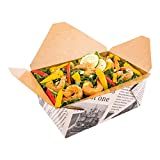 98-OZ Disposable Rectangle Paper Take Out Food Container – #4 Newsprint with Kraft Brown Interior Take Out Box – Easy Fold and Close – ENVIRONMENTAL-FRIENDLY and Recyclable – 200-CT – Restaurantware