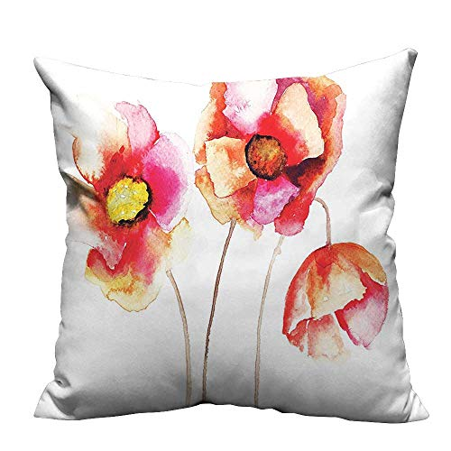 YouXianHome Decorative Throw Pillow Case Watercolors Vibrant Poppies Graphic Peace and Death Symbol Flower Sedative Plant Decorativ Ideal Decoration(Double-Sided Printing) 17.5x17.5 -
